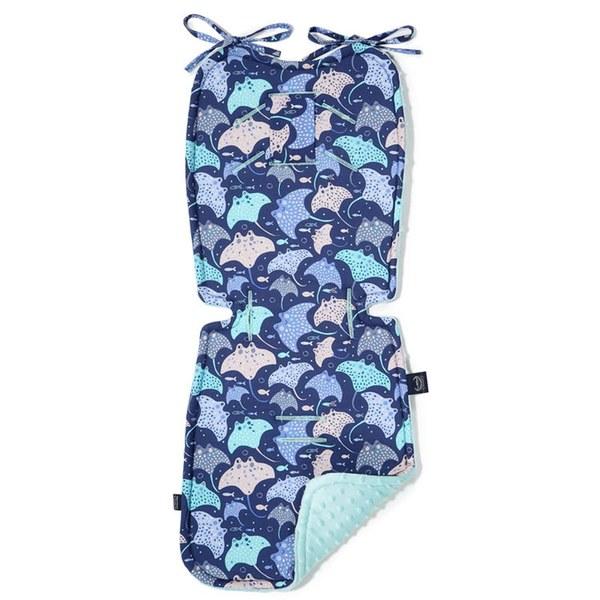 La Millou 豆豆推車坐墊-微笑彩魟魚(藍底)-粉嫩薄荷綠