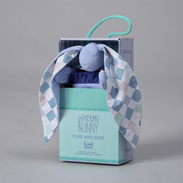 La Millou  Velvet頂級棉柔系列-長耳安撫巾兔禮盒(舒柔藍)