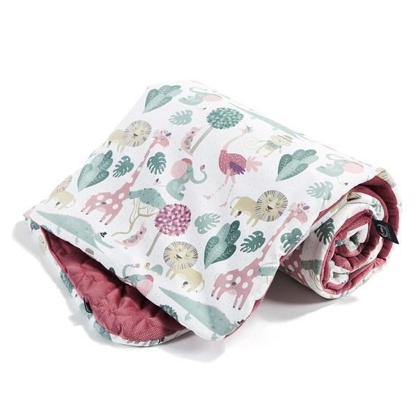 La Millou  Velvet頂級棉柔系列-雙面柔柔毯-動物探險隊(粉底)-舒柔褐