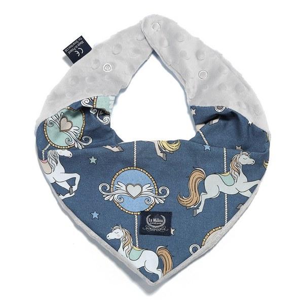 La Millou 豆豆圍兜領巾-旋轉小木馬(藍底)-牛奶星空灰