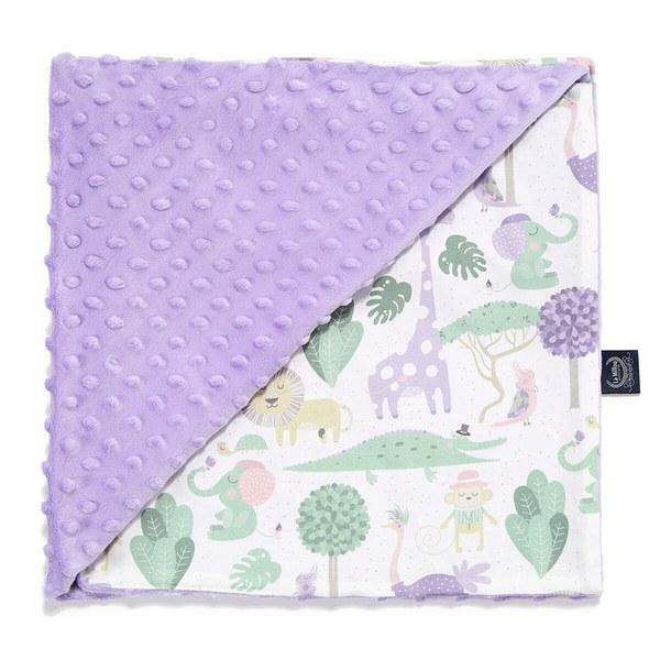 La Millou 單面巧柔豆豆毯(加大款)-動物探險隊(紫底)-粉紫馬卡龍