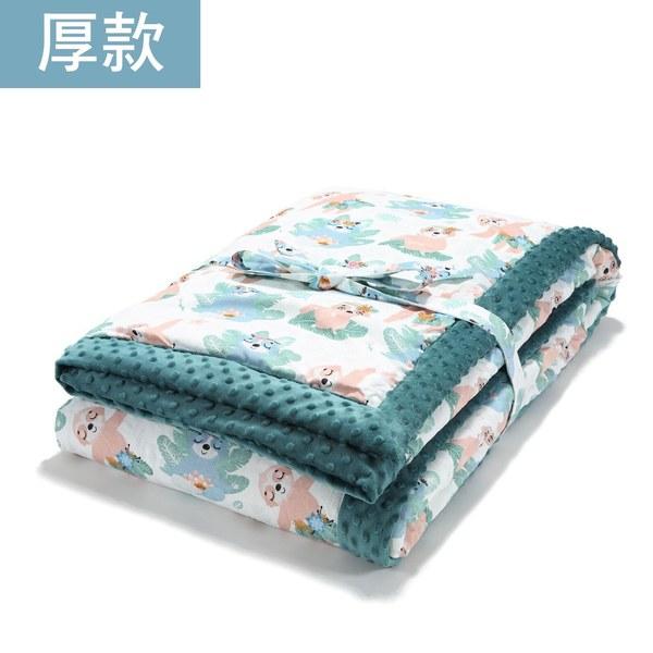 暖膚豆豆毯大人款140*220cm-瑜珈珈樹懶(藍綠愛琴海)