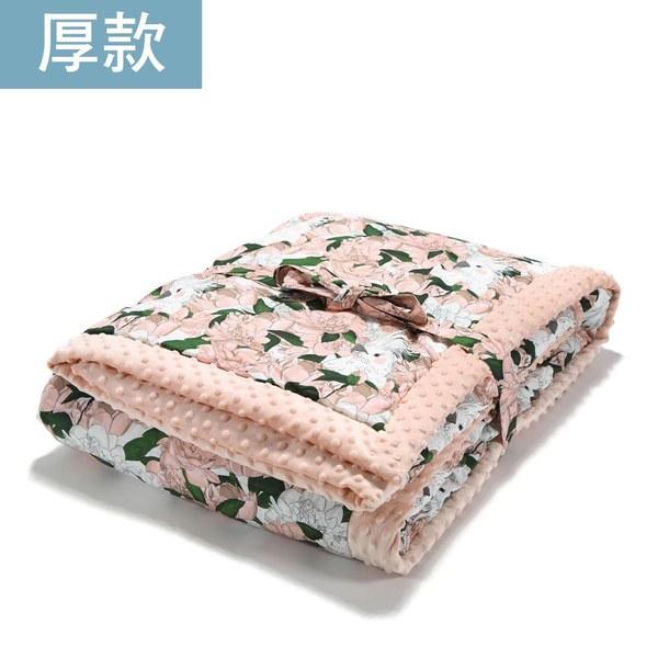 暖膚豆豆毯大人款140*220cm-格格牡丹花(粉嫩氣質膚)
