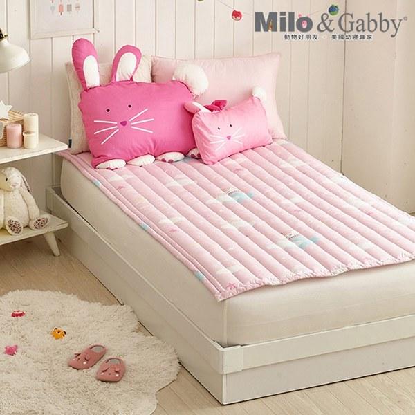 Milo&Gabby 動物好朋友-兒童超細纖維防蟎床墊(奇幻冒險-粉)