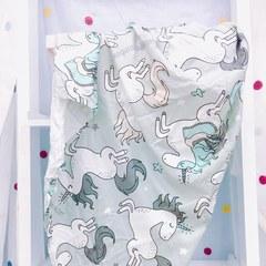 La Millou 包巾-竹纖涼感巾(童話獨角獸-綠底)